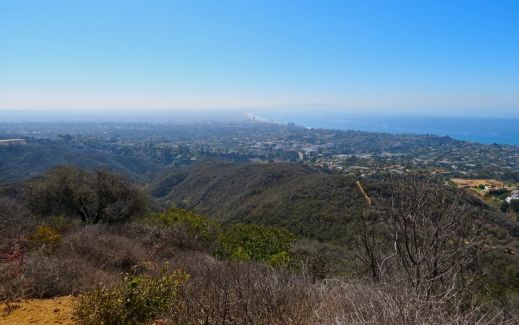 temescal canyon trail, morning, hot, heat, ocean view, pacific ocean, hazy