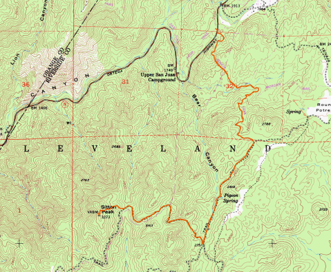 Sitton peak, sitton peak via Bear Canyon Trail, Cleveland National Forest, Gaia GPS,