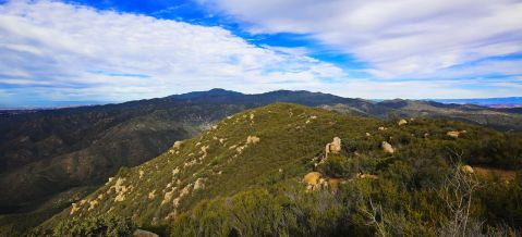 view of Santiago Peak, Ortega mountain, Cleveland National Forest, national forest, ocean view, Catalina Island, hiking, trail running, trail run, hike, dirt trail,